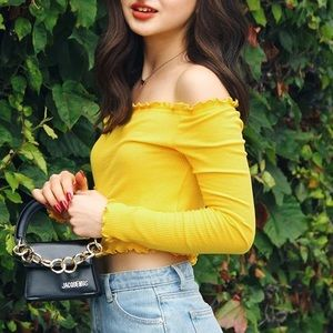 h&m • yellow off the shoulder top